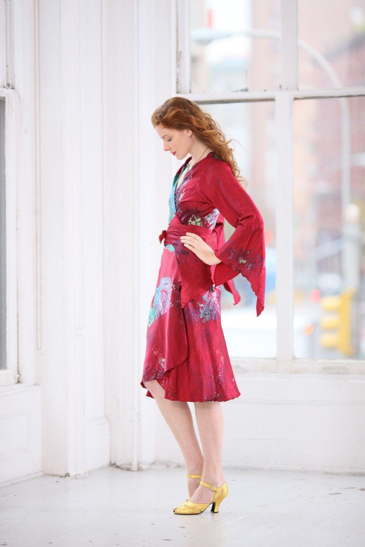 Boho wedding dress plus size  Reserve for Debi Yellow Silk Wrap wedding dress by momosoho boho