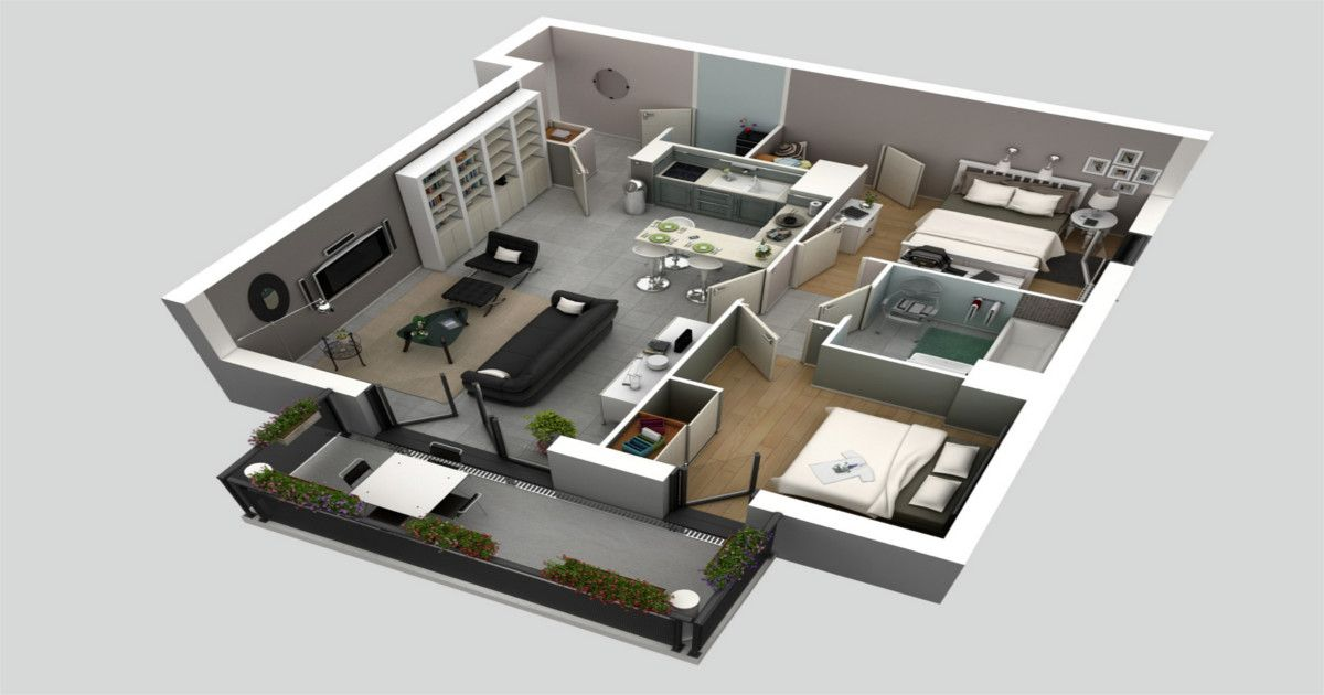 Top 15 Free 3d Floor Plan Designs For 2 Bedroom Houses And Apartments Pinoymariner 3d House Plans House Plans Bedroom House Plans
