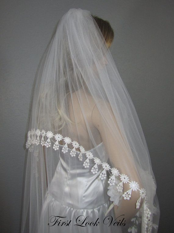 White Bridal Veil Waltz Veil Lace Vail Boho Vale Wedding Veil Crystal Veil Full Veil Two Layer Veil Long Veil Short Veil Tulle Veil Wedding Veils Lace Floral Veil Wedding Veils