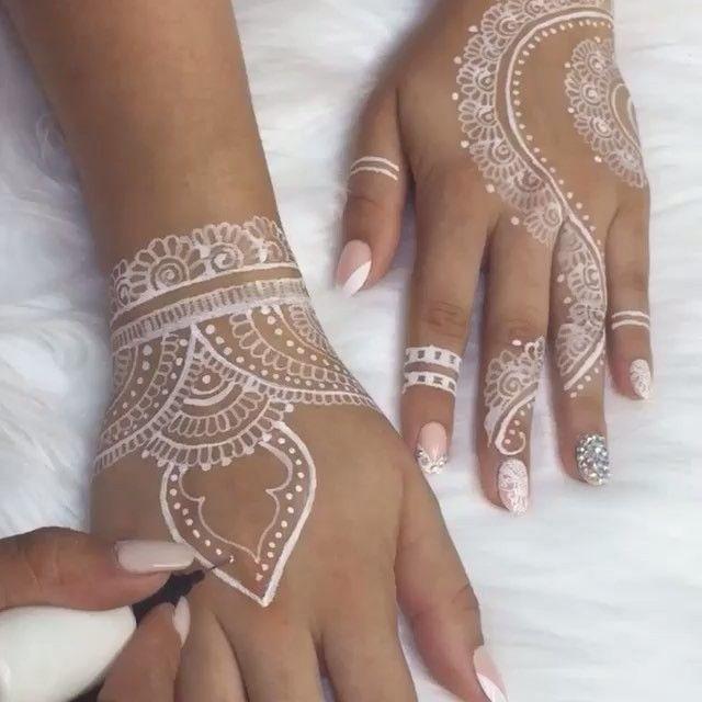 White Wedding Dress With Henna