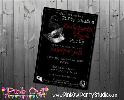 50 Shades Of Grey Bachelorette Lingerie Party Invitation