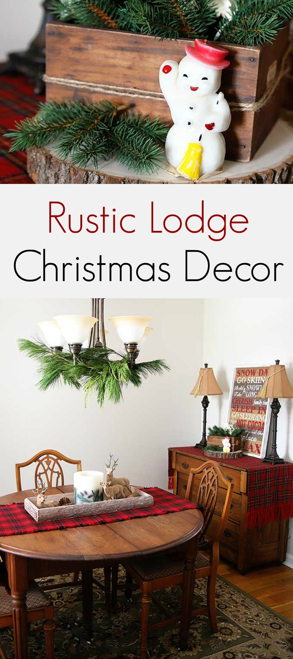 Enjoy a warm and cozy lodge look for the holidays using vintage rustic Christmas decorations. Including plaid decor, wooden accents and vintage reindeer. #VintageChristmas #rusticdecor #RusticChristmas #cabinchristmas #cabindecor #lodgedecor #holidaydecor