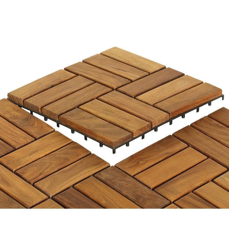 Ez Floor 12 X 12 Wood Interlocking Deck Tile In Natural In 2020 Teak Flooring Interlocking Deck Tiles Deck Tile