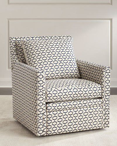 Perfect Kadi Swivel Recliner Chair, White/Blue