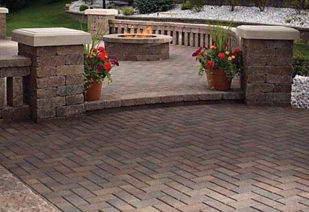 Brick Patio With Spindle Seating Wall