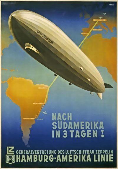 1930/'s German Trans Atlantic Zeppelin Travel  Poster  A3 Reprint
