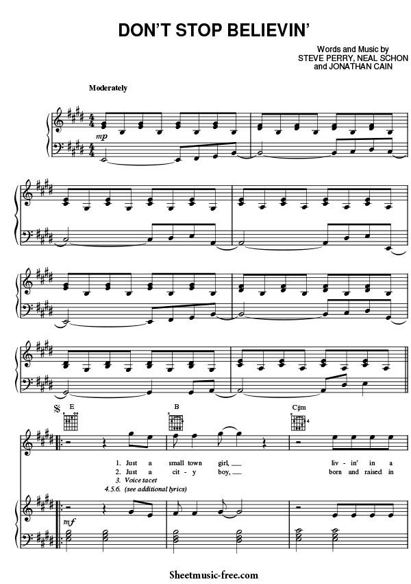 Don T Stop Believin Sheet Music Journey With Images Sheet