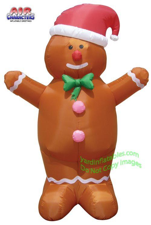 Air Blown Inflatable 7\u0027 Gingerbread Man Wearing Santa Hat