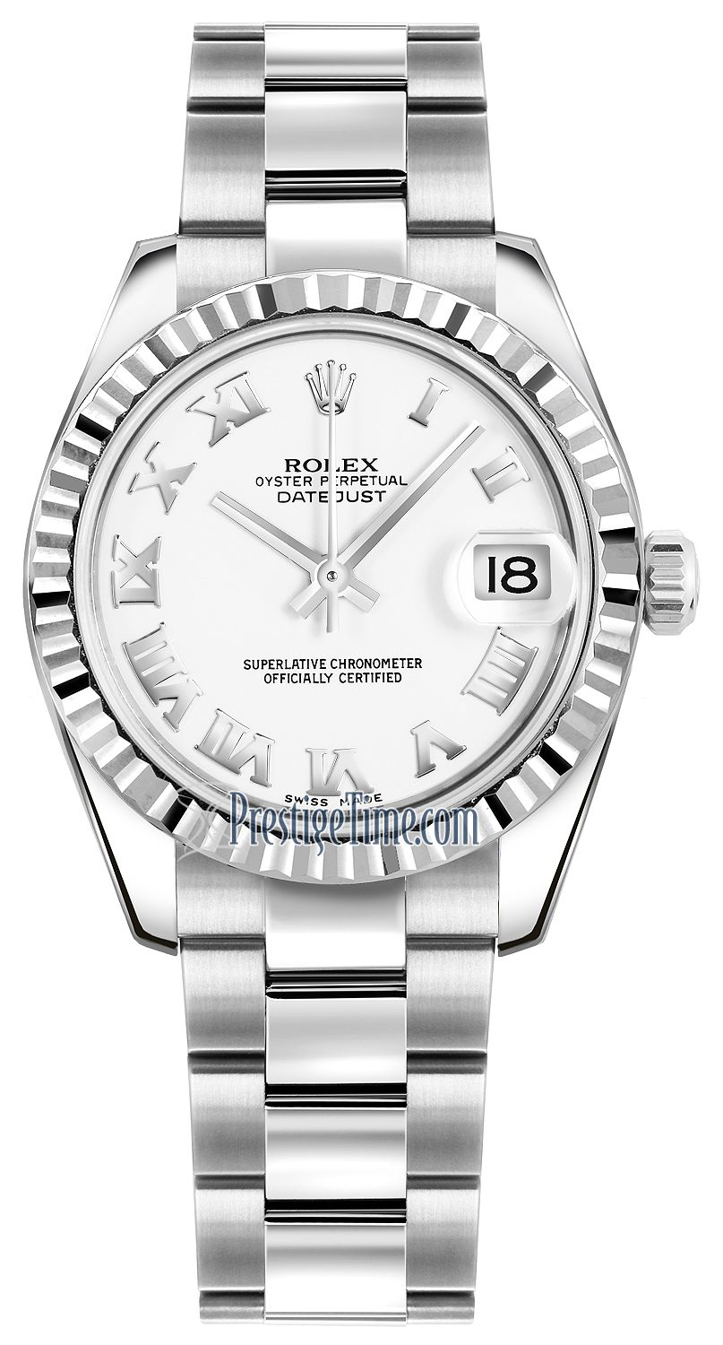 178274 White Roman Oyster Rolex Datejust 31mm Stainless Steel Ladies Watch Rolex Womens Watches Rolex Datejust