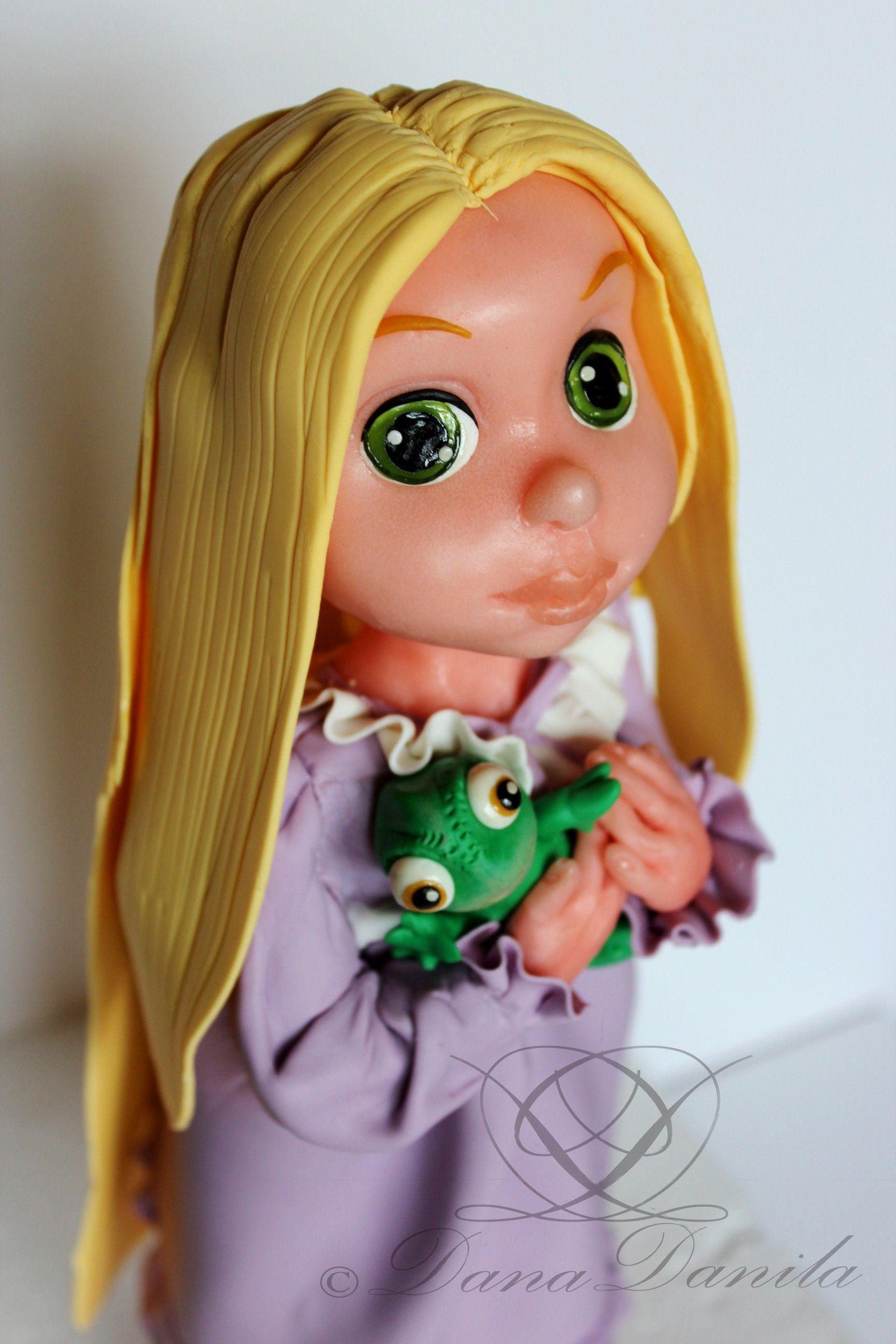 Rapunzel doll from sugar paste