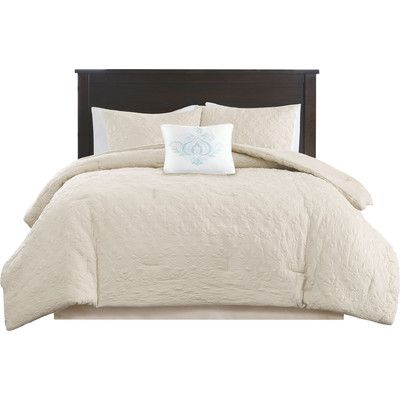 Alcott Hill Hudson 5 Piece Comforter Set Color: Ivory, Size: California King