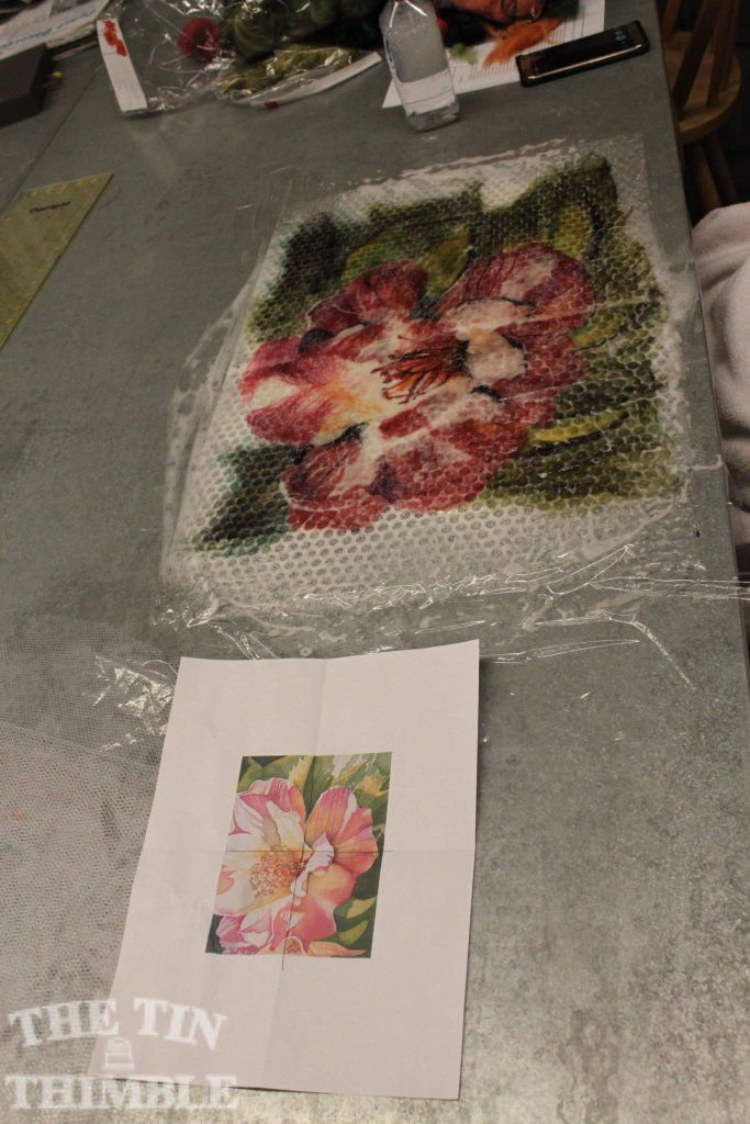 """Piece made by a student in a """"Painting with Wool"""" workshop at The Tin Thimble in Loomis, CA. #felt #thetinthimble #wetfelt"""