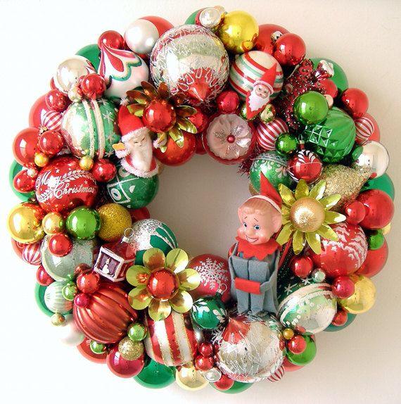 Vintage Christmas Ornaments Wreath Elf & Santas by giddyuppony ...