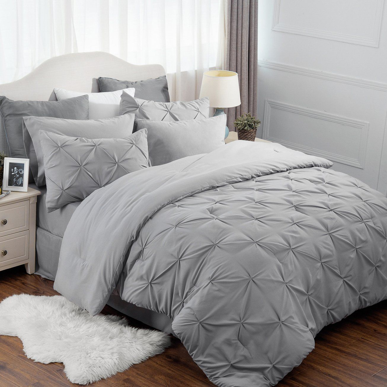8 Piece Comforter Set Full Queen Size 88 X88 Solid Grey Pinch