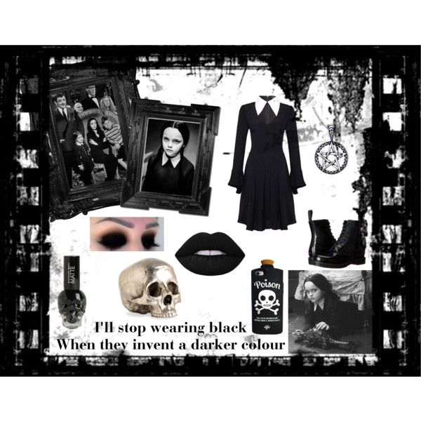 Wednesday Addams by demolition-vampire on Polyvore featuring mode, Dr. Martens, Lime Crime and Arteriors