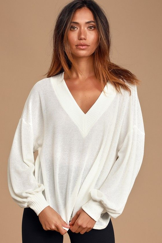 Lulus | Personal Record White Knit Balloon Sleeve Sweater Top | Size X-Small #ammanjordan