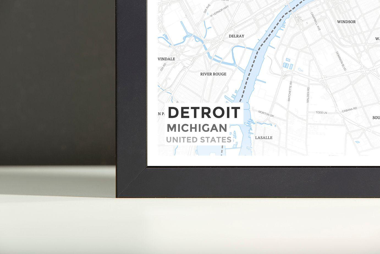 Detroit In World Map%0A Framed Map Poster of Detroit Michigan  Subtle Ski Map  Detroit Map Art