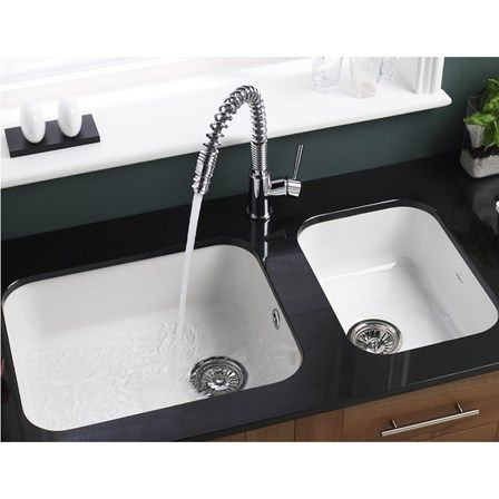 Astracast Lincoln White Ceramic Large Single Bowl Undermount Sink Chrome Waste 560mm X 460mm