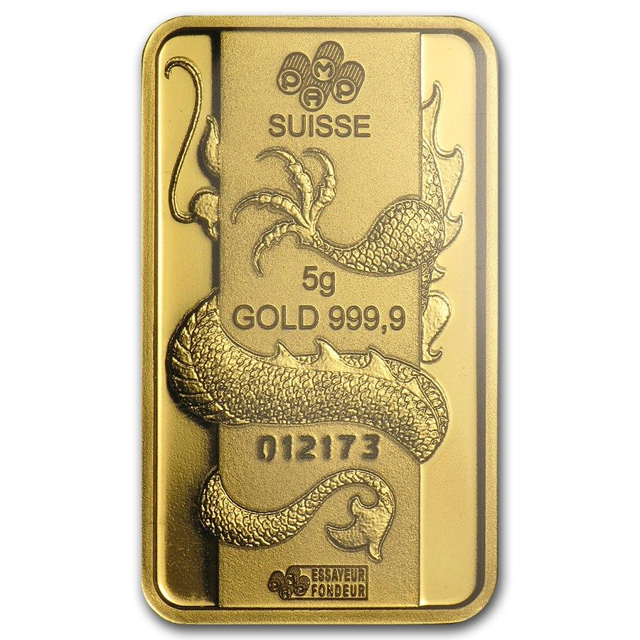 5 Gram Gold Bar Pamp Suisse Year Of The Dragon Gold Bullion Coin Collecting Bullion