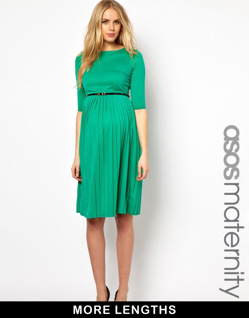 ASOS Maternity | ASOS Maternity Midi Dress With Pleated Skirt at ...