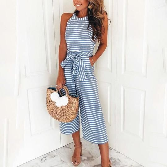 ad392a416a7c6 2019 的 Striped Vacation Casual Jumpsuit 主题 | Jumpsuit | Casual ...