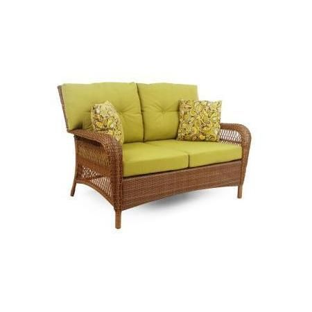 Martha Living Patio Furniture Charlottetown Brown All Weather Wicker Loveseat With Green Cushions
