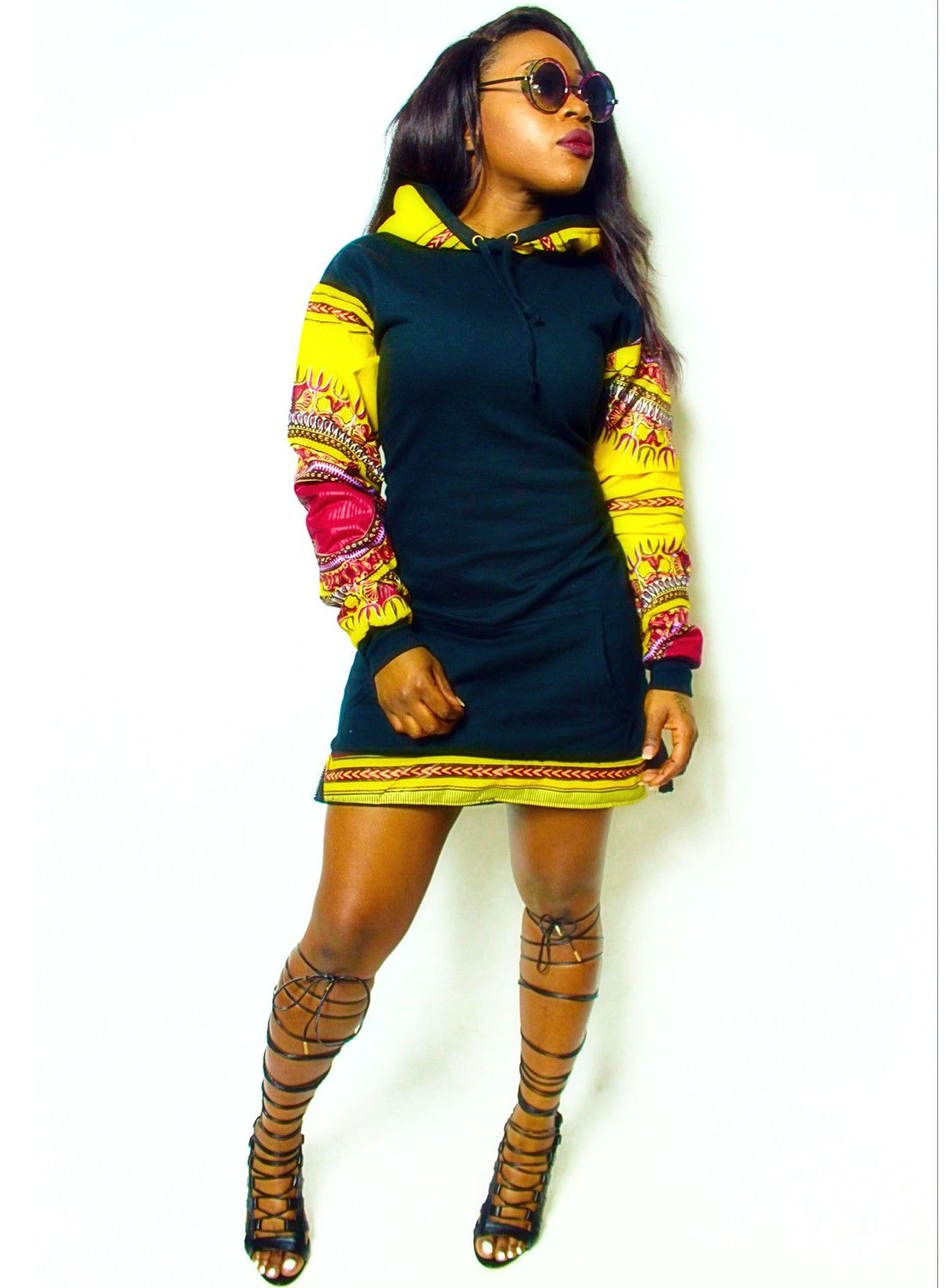 Retrovillage long line extended unisex dashiki hoodie sweater side