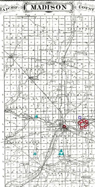 Archaeological map of Madison County Indiana that includes mounds