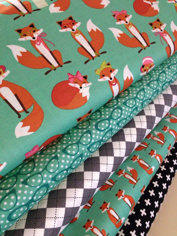 Fabulous Fox Fabric Bundle Of 5 Woodland Animal Fox Aqua