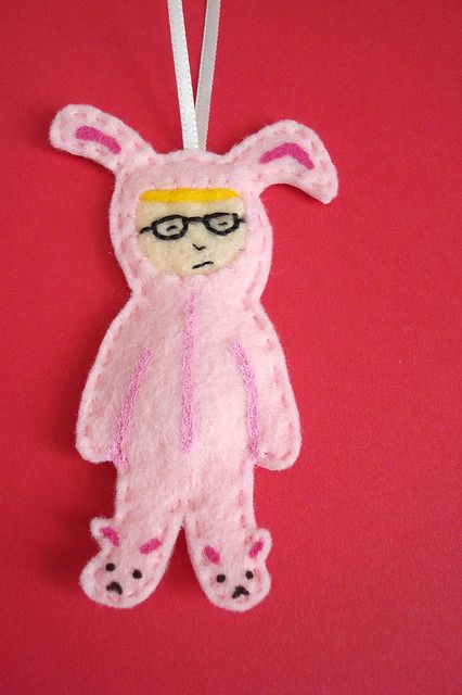 Ralphie in Bunny Suit Ornament Felting and Ornament