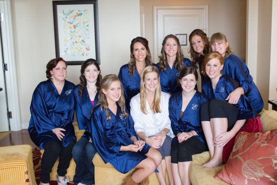 Satin Bridesmaid Robes Navy Bridesmaid Dressing Gown Personalized