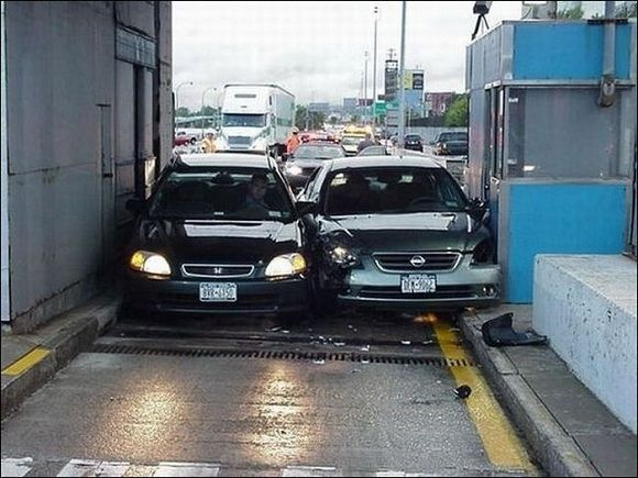 The Fine For A Toll Booth Crash Funny Accidents Bad Drivers Car Humor