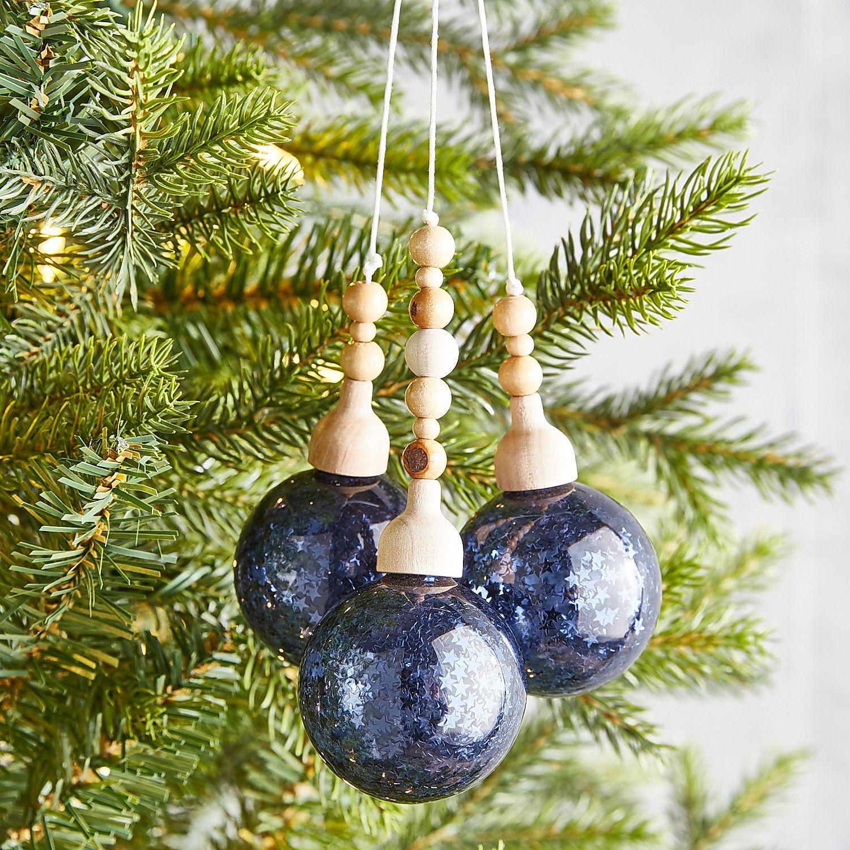 Navy Blue Glass Ornament Bundle Christmas Decorations Ornaments Copper Christmas Christmas Crafts Decorations