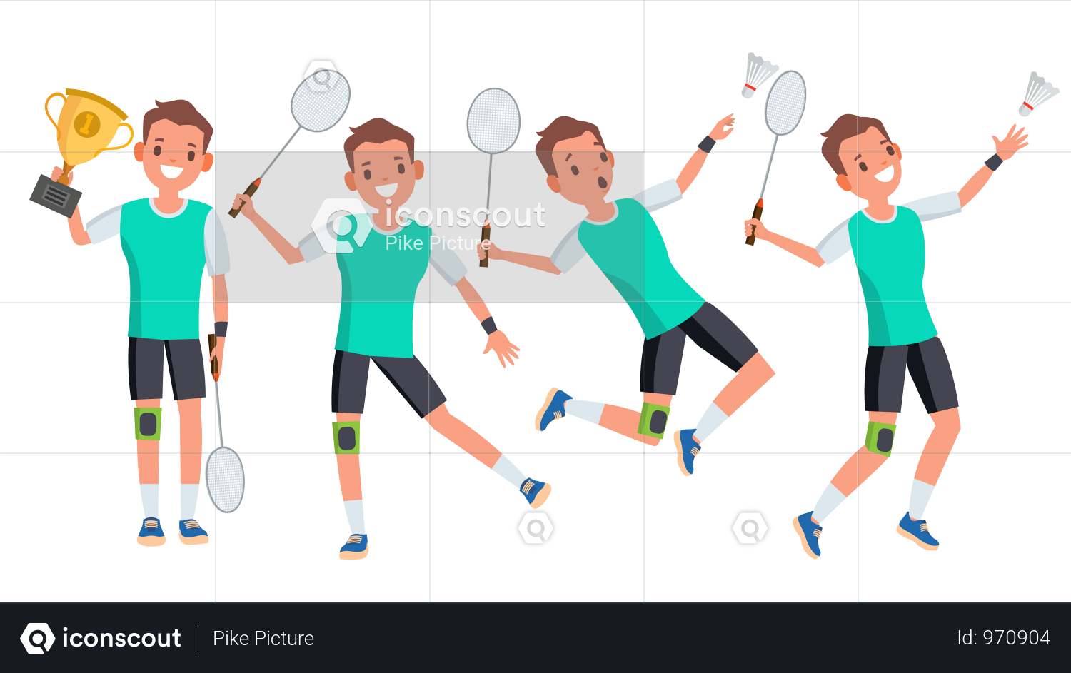 Premium Badminton Male Player Vector Playing In Different Poses Man Athlete Isolated On White Cartoon Character Illustration Illustration Download In Png V Avec Images