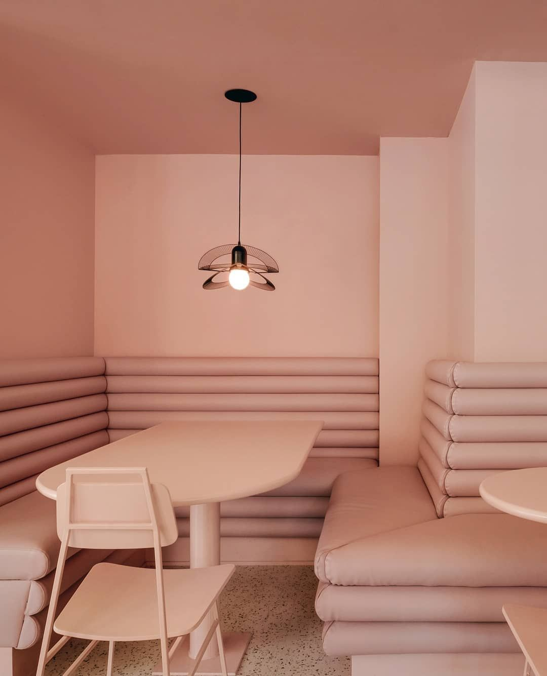 Bold Colourful Eye Catching This Canadian Cafe Designed By Appareilarchitecture Masters The Art Of Muted Monochrome What S Mor With Images Monochrome Interior Design