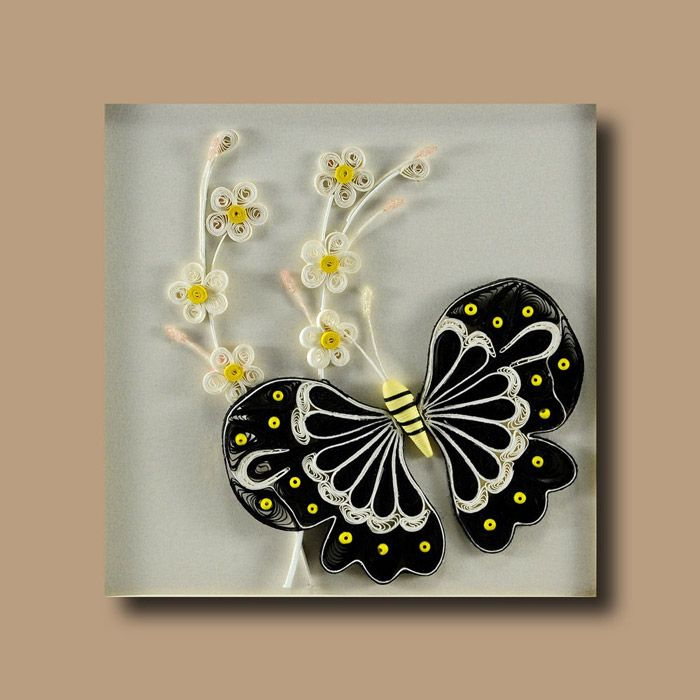 framed quilling paper wall hanging butterfly no 4