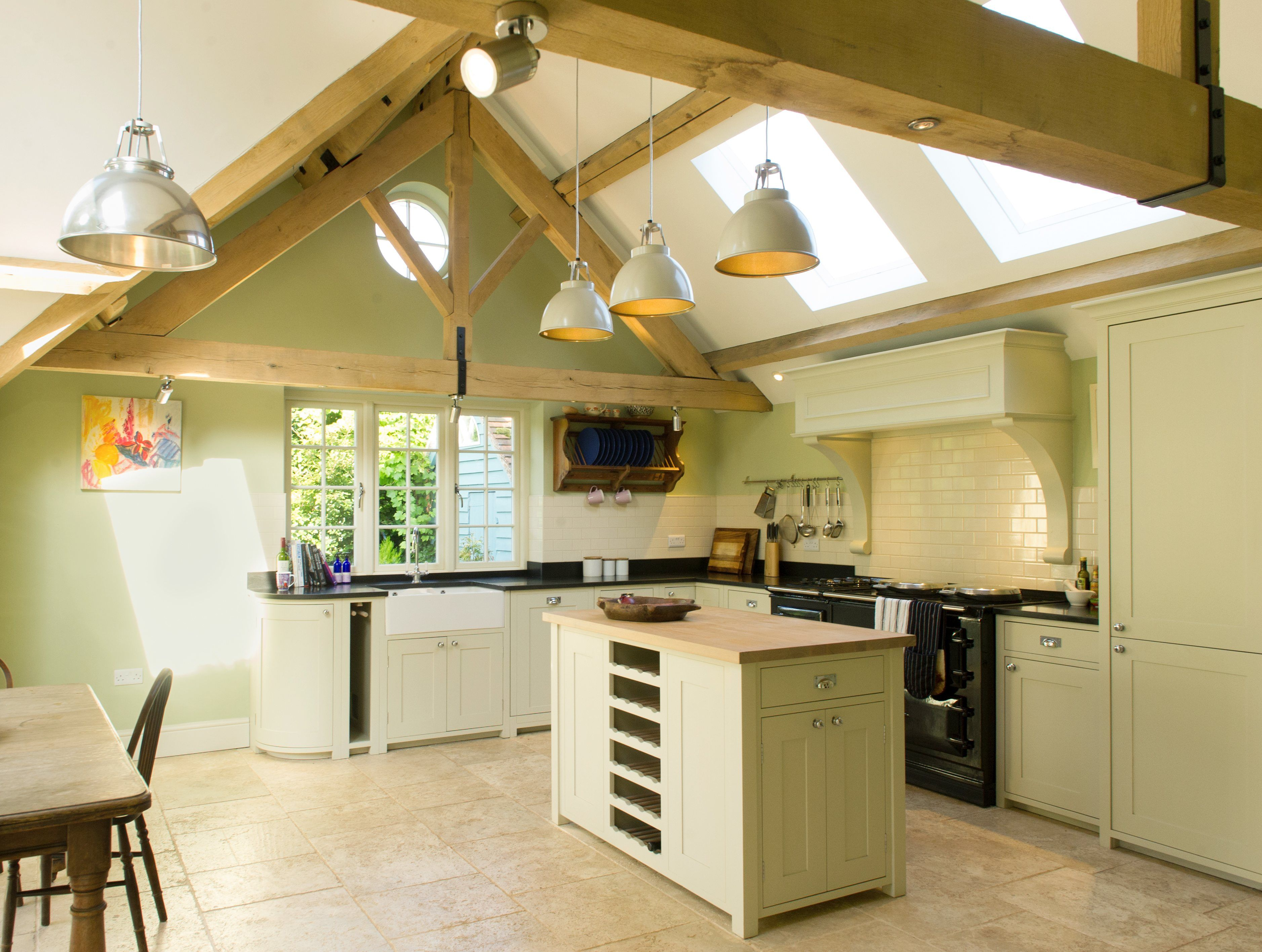 Vaulted ceiling Neptune kitchen with oak trusses and island unit ...