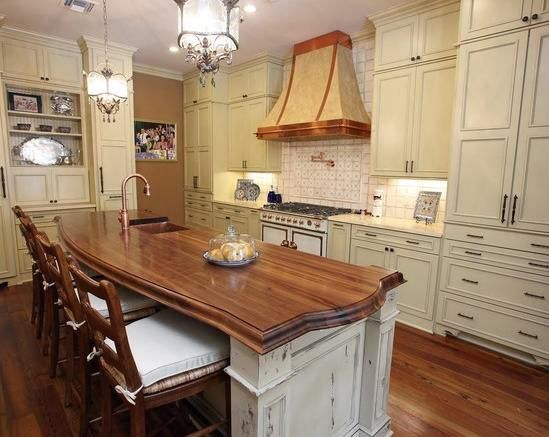 Walnut Wood Countertop In New Orleans Louisiana French Country
