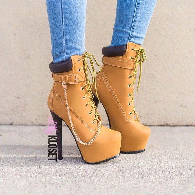 fde082726e03 Timberland Inspired Lace Up Chain High Heel Wedge Platform Boots Denim  Jeans Dope Footwear