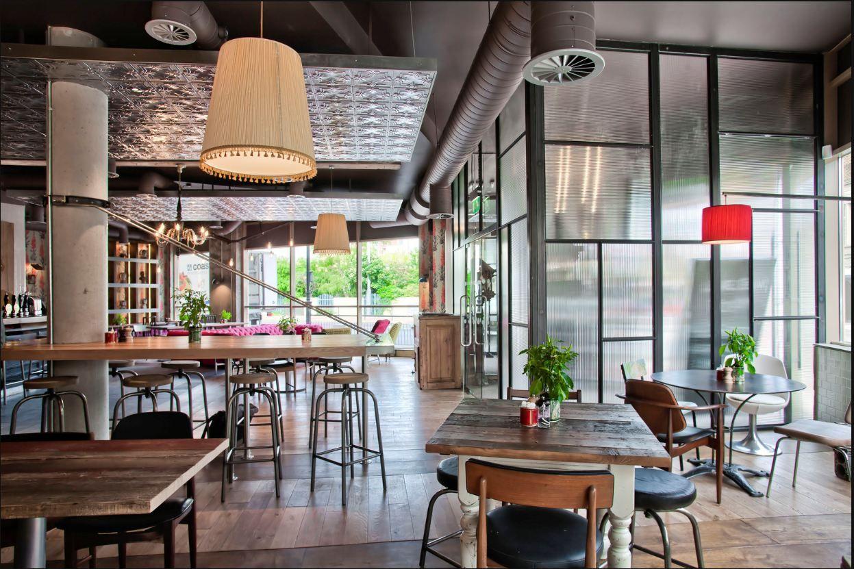 drop soffit with metal ceiling tile finish bar design awardsrestaurant