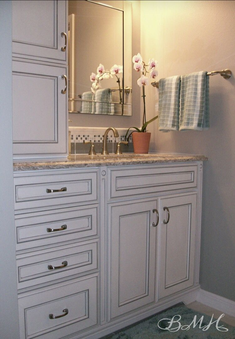 Grey Shaker Style Bath Vanity With Carrara Marble Counter Top As