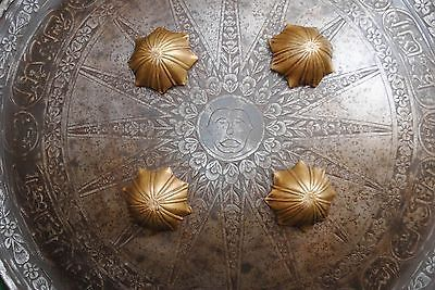 Antique Islamic Iron shield KUFIC Dhal indo persian no kulah khud QURAN Script