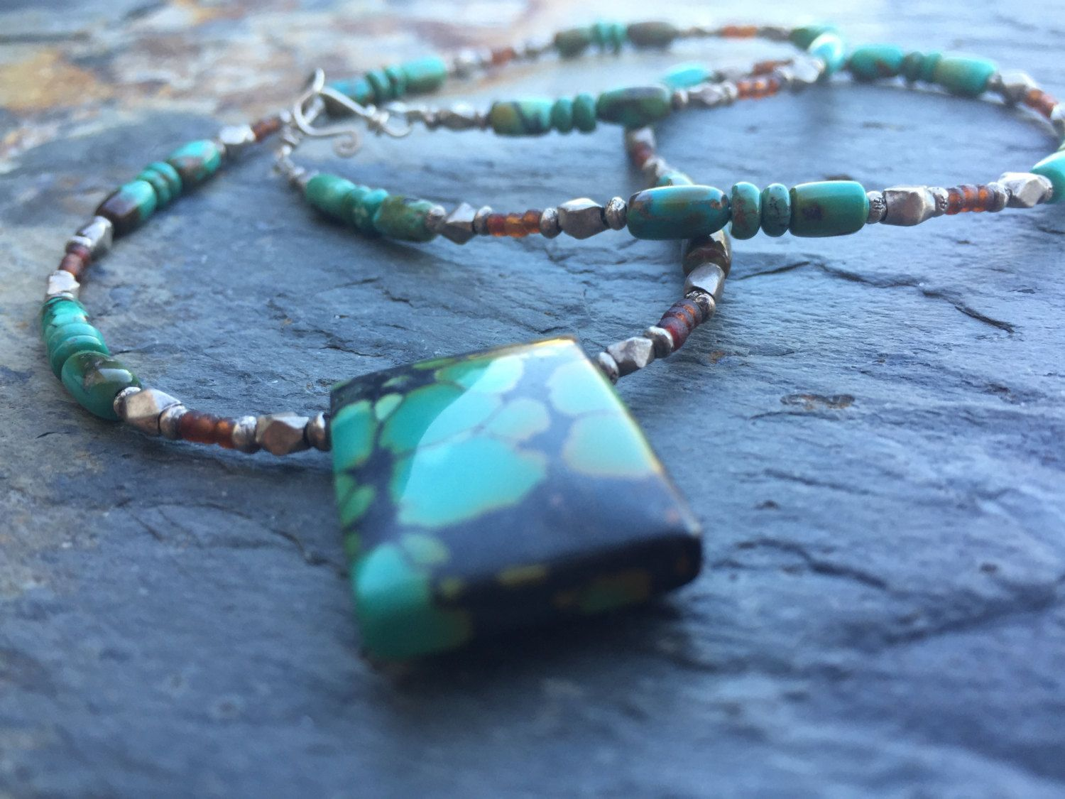 Chinese Turquoise Sterling Silver And Afghani Glass Necklace by GinnyWolfStudio on Etsy