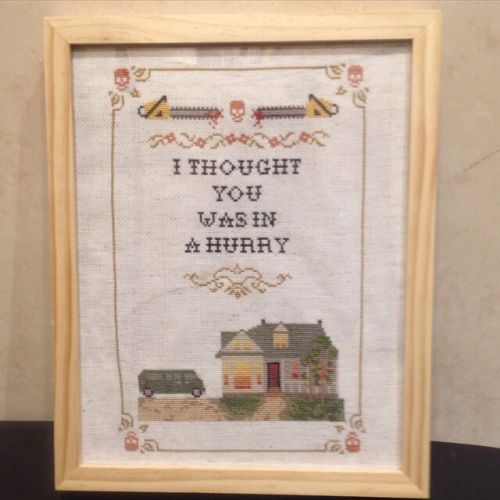 crossstitchwitches: Texas Crossstitch Massacre. Self made...  crossstitchwitches:  Texas Crossstitch Massacre. Self made pattern   (submitted by anastasssssssiaruth)