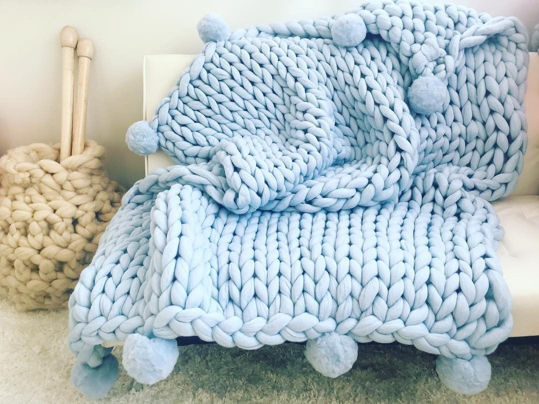 Chunky Knit Blanket With Pom Poms Arm Knit Throw Hand Knit Etsy In 2020 Handmade Blanket Arm Knitting Blanket Knitted Blankets