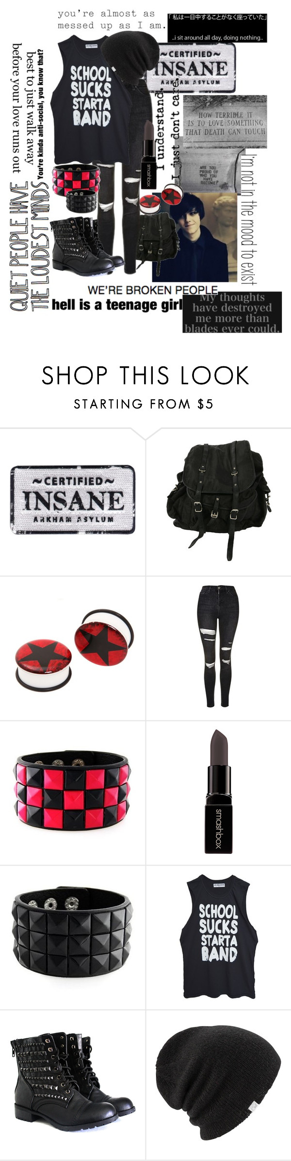 """Meh"" by xxonyx-lightwaterxx ❤ liked on Polyvore featuring Elite, AllSaints, Topshop, Smashbox, High Heels Suicide and Coal"