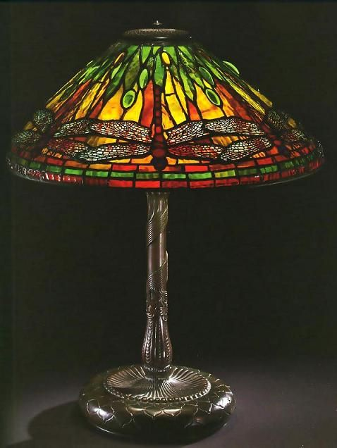 Tiffany Studios Leaded Stained Glass Dragonfly Shade, Cast Bronze Base Table Lamp