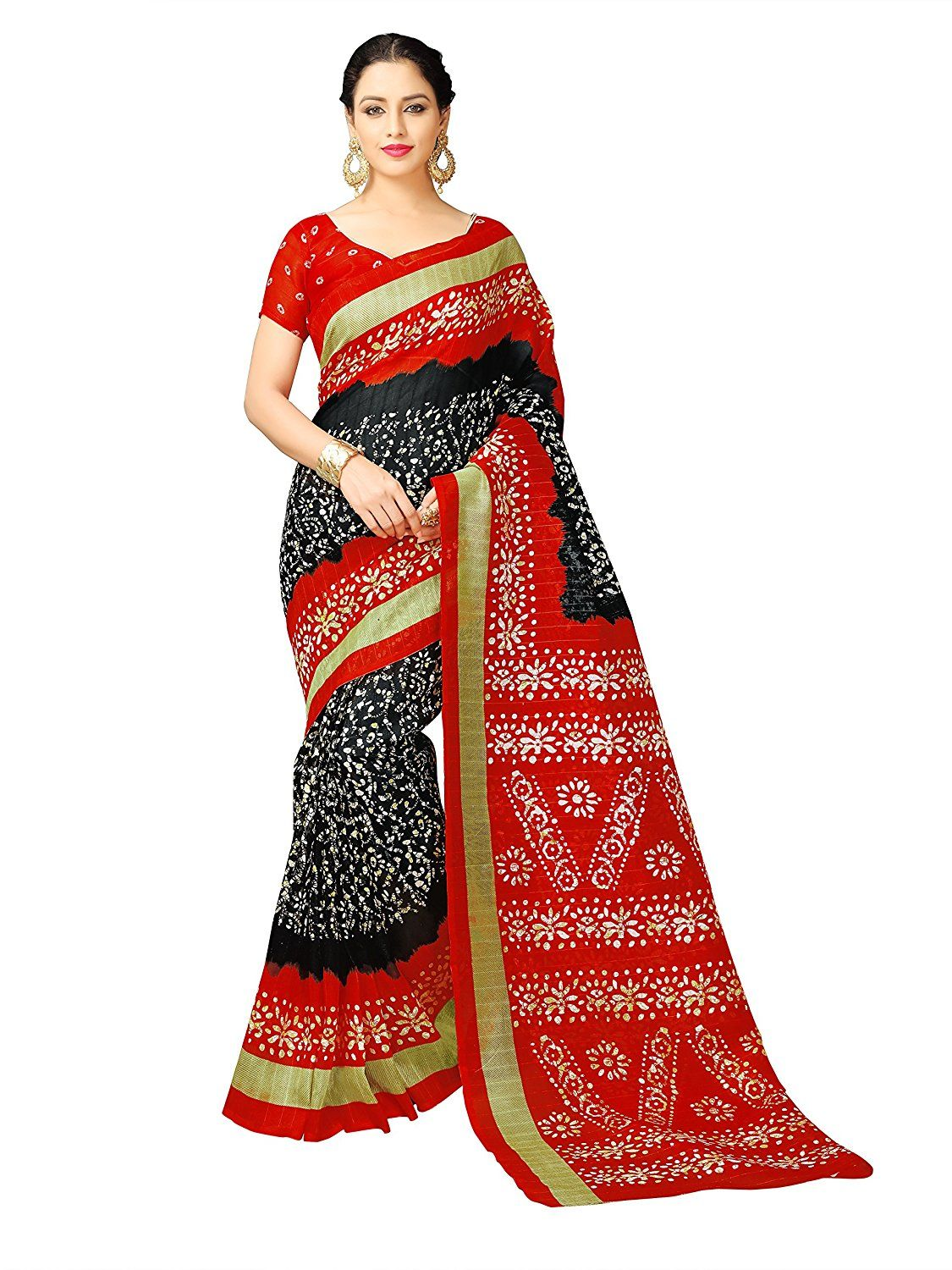 b9fd45281489f Glory Sarees Women s Cotton Silk Saree(vnart32 red)  Amazon.in  Clothing    Accessories