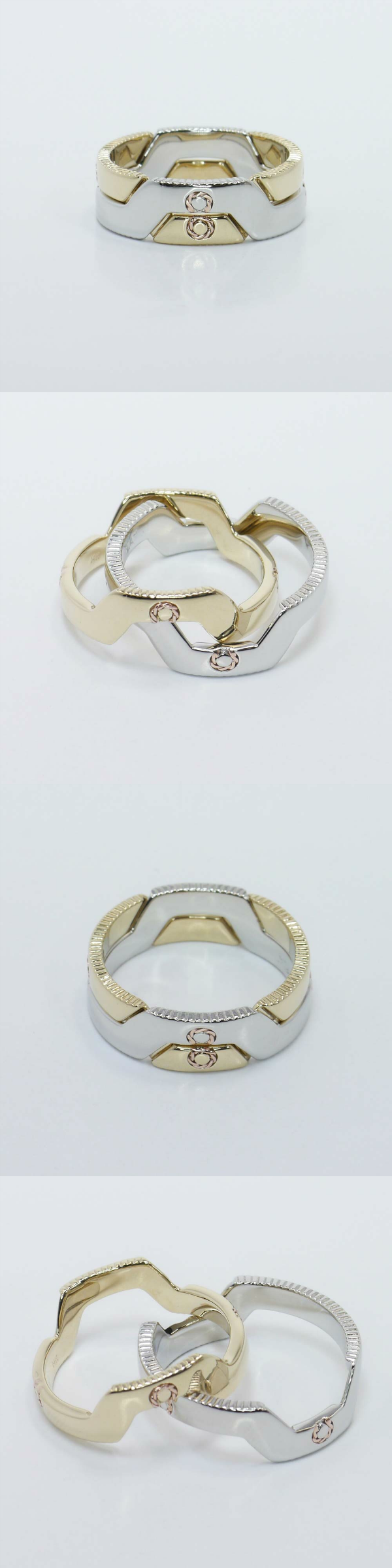 Custom Interlocking Puzzle Bands! Interlocking bands represent the couple with infinity symbols to signify a long-lasting union. Metal: Platinum Prong Metal: Yellow Gold, Accent Metal: Rose Gold Setting Cost: $3,395 https://www.brilliance.com/recently-purchased-rings/custom-interlocking-puzzle-mens-band