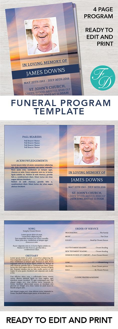 Sunset Printable Funeral program ready to edit & print. Simply ...